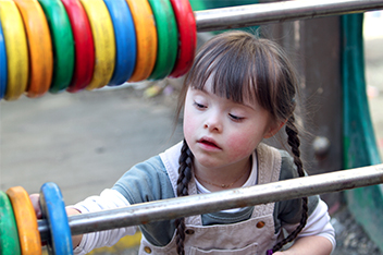 Girl playing at playground